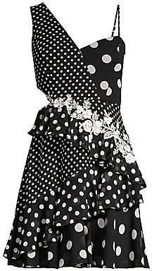 BCBGMAXAZRIA Women's Asymmetric One-Shoulder Polka Dot Dress