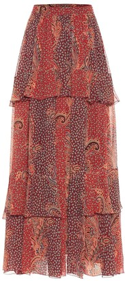 Etro Tiered printed silk maxi skirt