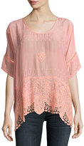 Johnny Was Princess Short-Sleeve Georgette Top, Coral Sunset