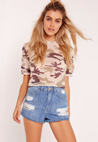 Missguided High Waisted Cheeky Rip Boy Shorts Blue