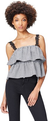 Amazon Brand - find. Women's Top in Gingham with Crochet Lace Sleeve Detail