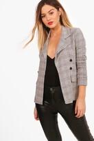 boohoo Petite flannel Button Sleeve Blazer