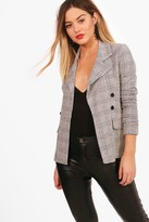boohoo Petite Katie Check Button Sleeve Blazer