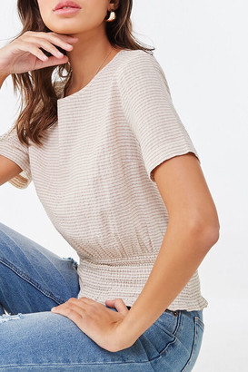 Forever 21 Striped Smocked Top