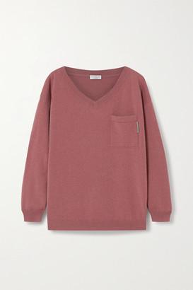 Brunello Cucinelli Bead-embellished Cashmere Sweater - Brick