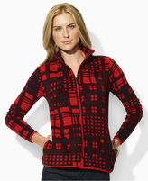 Lauren by Ralph Lauren Jacket, Wanda Long Sleeve Plaid Printed Zip Up Fleece