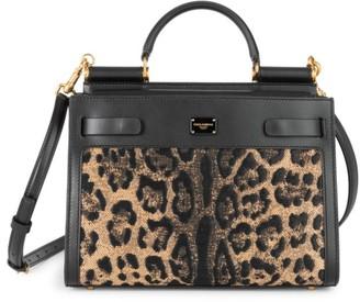 Dolce & Gabbana Sicily Leopard-Print Raffia Top Handle Bag