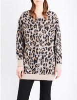 Izzue Leopard-knit longline jumper