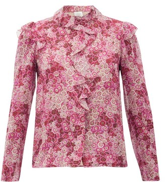 Giambattista Valli Ruffled Floral-print Silk-georgette Blouse - Womens - Pink