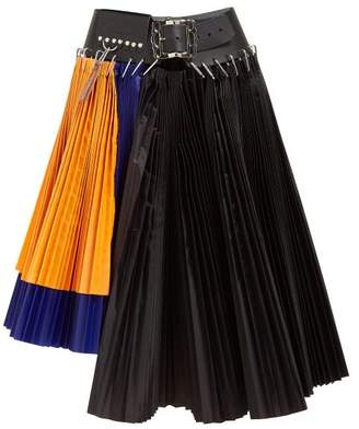 Chopova Lowena - Pleated Colour-block Asymmetric Mini Skirt - Womens - Multi