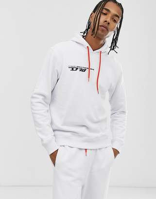 Diesel Umlt-Brandon logo hoodie in white
