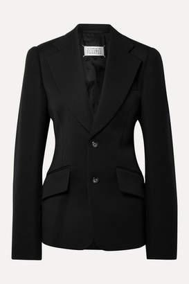 Maison Margiela Oversized Wool-twill And Felt Blazer - Black