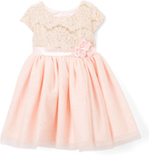 Nannette Pink Lace Floral-Accent Cap-Sleeve Dress - Girls