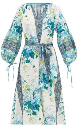 D'Ascoli Melrose Belted Floral-print Cotton Dress - Blue Print