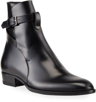 Saint Laurent Men's Jodhpur Leather Ankle-Wrap Boots