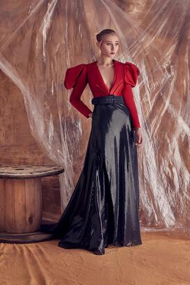 Gatti Nolli by Marwan Micaela Long Sleeve Sequin Gown
