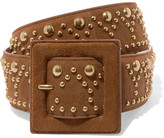 Saint Laurent Studded Suede Belt - Camel