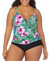 ST. JOHN'S BAY St. John's Bay Hibiscus Panama Palm Ring Front Tankini Swimsuit Top