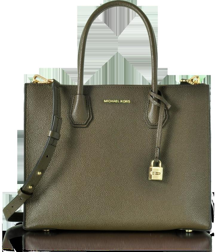 Michael Kors Mercer Large Convertible Olive Green Bonded-Leather Tote