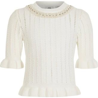 River Island Girls white neck embellished knitted jumper