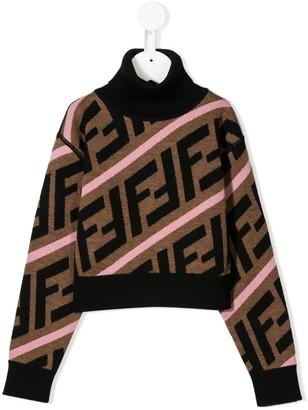 Fendi Kids FF logo stripes cropped jumper