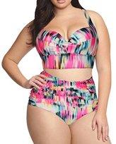 HaiCoo Plus Size High Waist Vintage Retro Bikini Push Up Separate Swimwear-KJX802-PK3XL