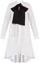 Osman Amelia neck-tie cotton-jacquard shirtdress
