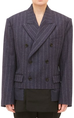 Maison Margiela Double Breasted Wool Jacket with Cut-to-Reveal Lining
