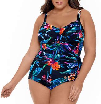Trimshaper Slimming Control Floral One Piece Swimsuit Plus