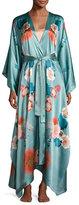 Meng V-Neck Floral-Print Long Satin Wrap Robe, Light Green