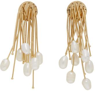 Jil Sander Gold Multiline Pearl Earrings