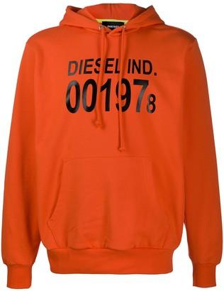 Diesel logo print relaxed fit hoodie