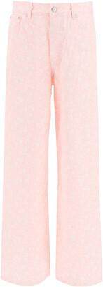 Ganni FLORAL PRINT PALAZZO JEANS 25 Pink, White Cotton, Denim