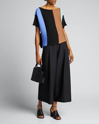 Issey Miyake Short-Sleeve Colorblocked Shirt