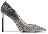 Jimmy Choo Romy 100 Dégradé Glittered Leather Pumps - Silver