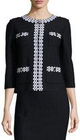 St. John Boucle Check-Print Jacket, Black/White
