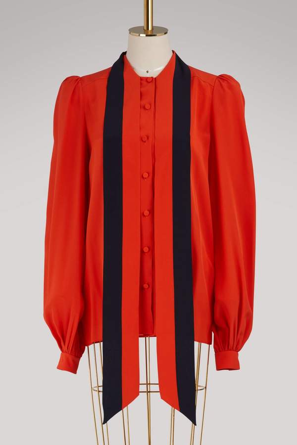 Givenchy Two-tone pussy-bow neck blouse