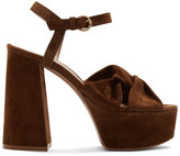 Gianvito Rossi Brown Suede Twisted 70 Heeled Sandals
