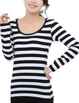 Queen-Ks Women's Cotton Basic Tee Striped Long Sleeve T-Shirt Black & White Large