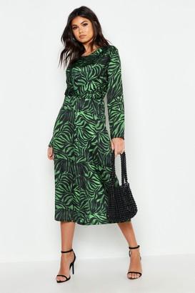 boohoo Satin Zebra Twist Front Midi Dress
