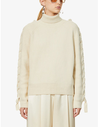 J.W.Anderson Cable-knit panel wool-blend jumper