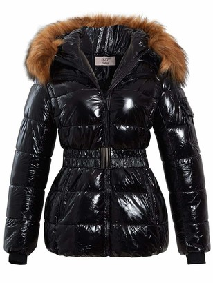 SS7 Womens Wet Look Puffer Coat with Faux Fur Black