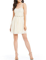 I.N. San Francisco Foiled-Lace Bodice Fit and Flare Dress