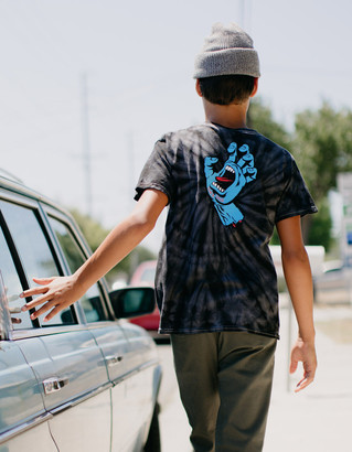Santa Cruz Screaming Hand Tie Dye Black Boys T-Shirt