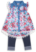 Little Lass Girls 2-6x Two-Piece Floral Top and Capri Pants Set