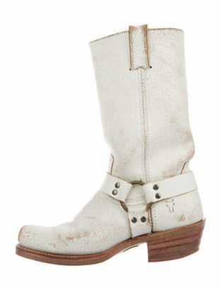 Frye Leather Distressed Accents Moto Boots White