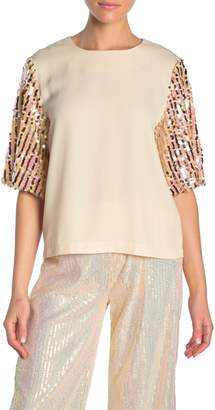 Ontwelfth Sequined Short Sleeve Blouse