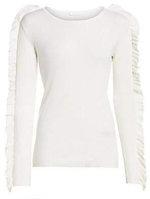 See by Chloe Women's Ruffle Long-Sleeve Silk-Blend Rib-Knit Sweater
