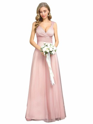 Ever Pretty Ever-Pretty Women's Elegant V Neck Floor Length Empire Waist A Line Tulle with Glitter Long Prom Dresses Pink 12UK