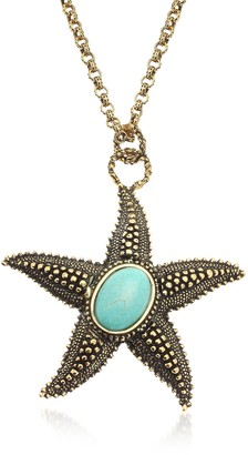 Alcozer & J Starfish Brass Necklace with Magnesite Heart